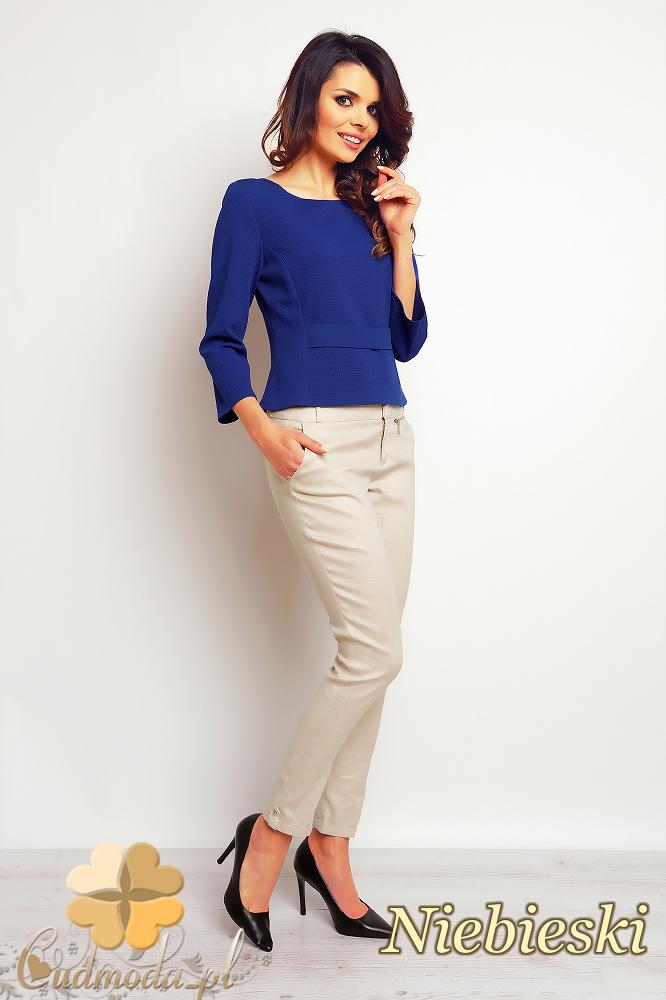 CM2385 Biurowa bluzka z ozdobnym przeszyciem - niebieska