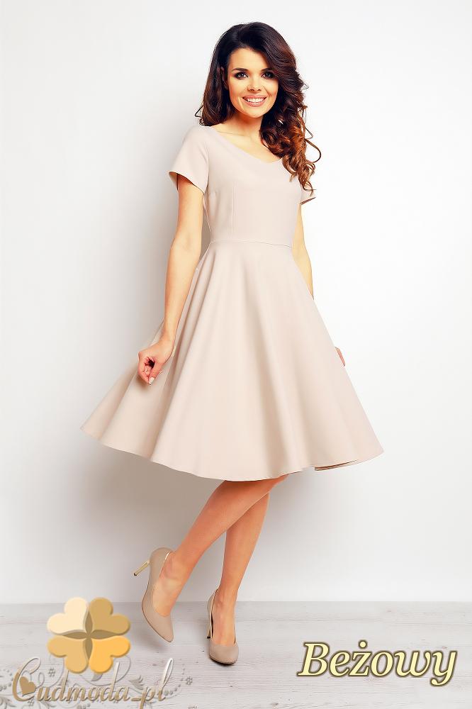 CM2387 Rozkloszowana sukienka wieczorowa - beżowa