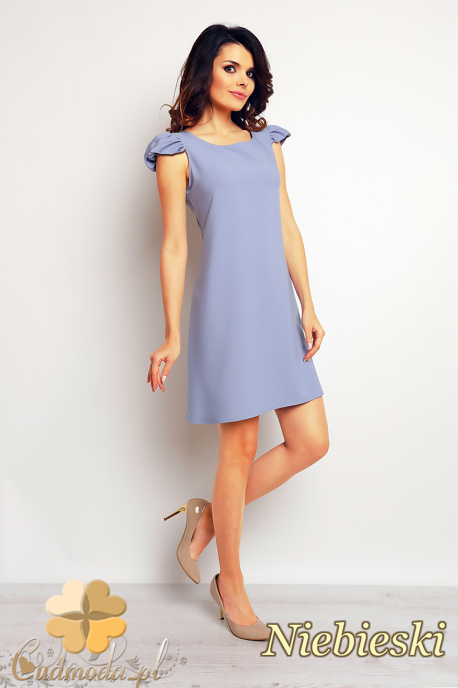 CM2389 Luźna sukienka trapezowa mini - niebieska