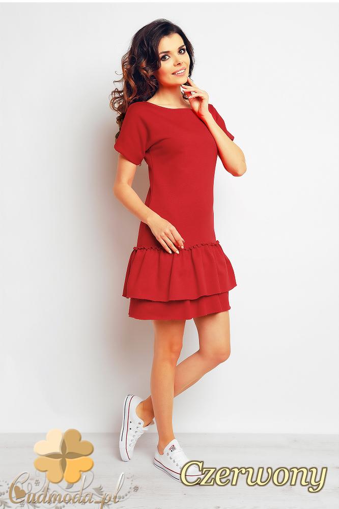 CM2390 Sportowa sukienka mini z falbankami - czerwona