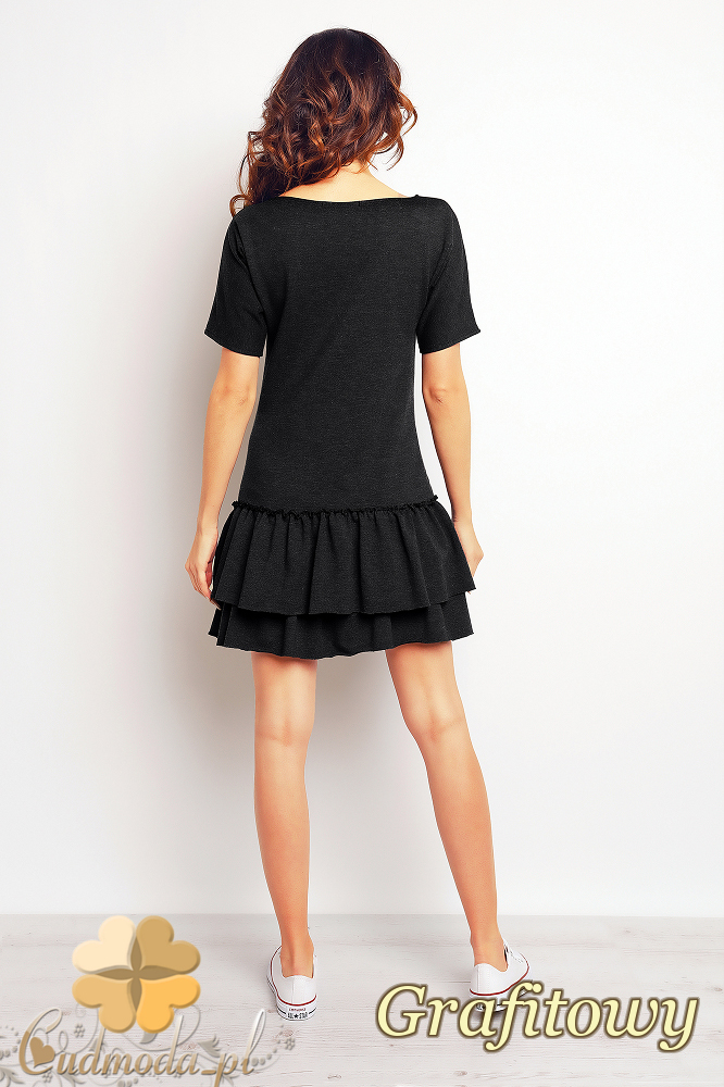 CM2390 Sportowa sukienka mini z falbankami - grafitowa