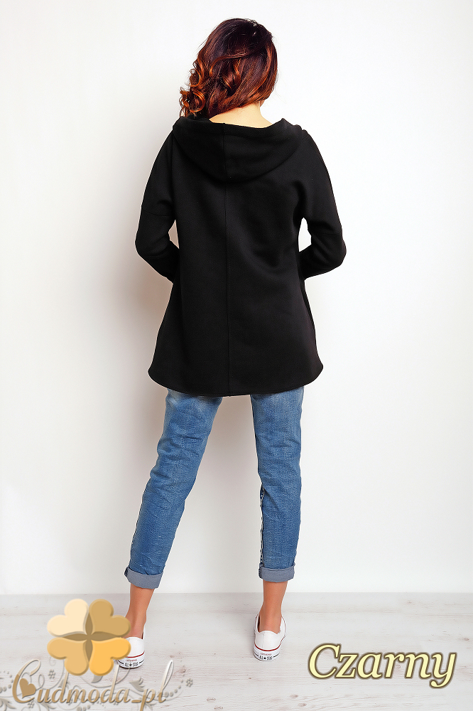 CM2392 Zasuwana bluza damska z kapturem - czarna
