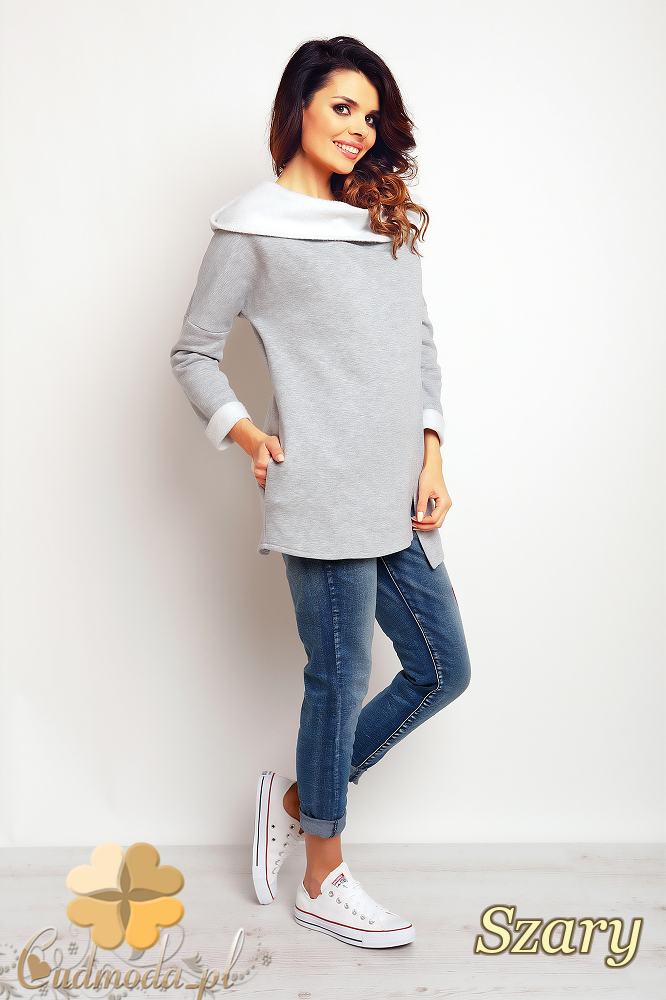 CM2392 Zasuwana bluza damska z kapturem - szara