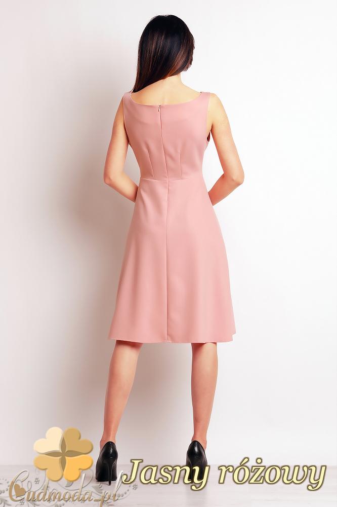 CM2393 Biurowa sukienka bez rękawów - jasny różowy