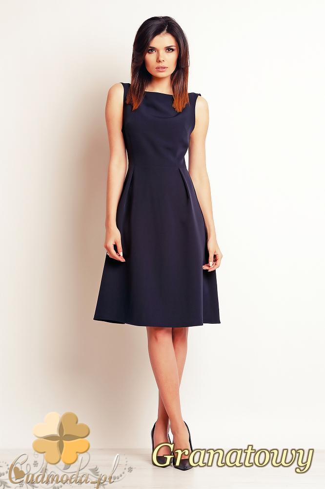 CM2393 Biurowa sukienka bez rękawów - granatowa