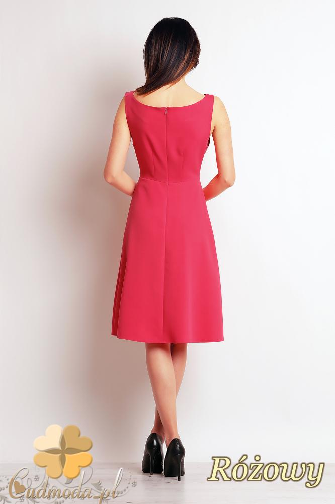 CM2393 Biurowa sukienka bez rękawów - różowa