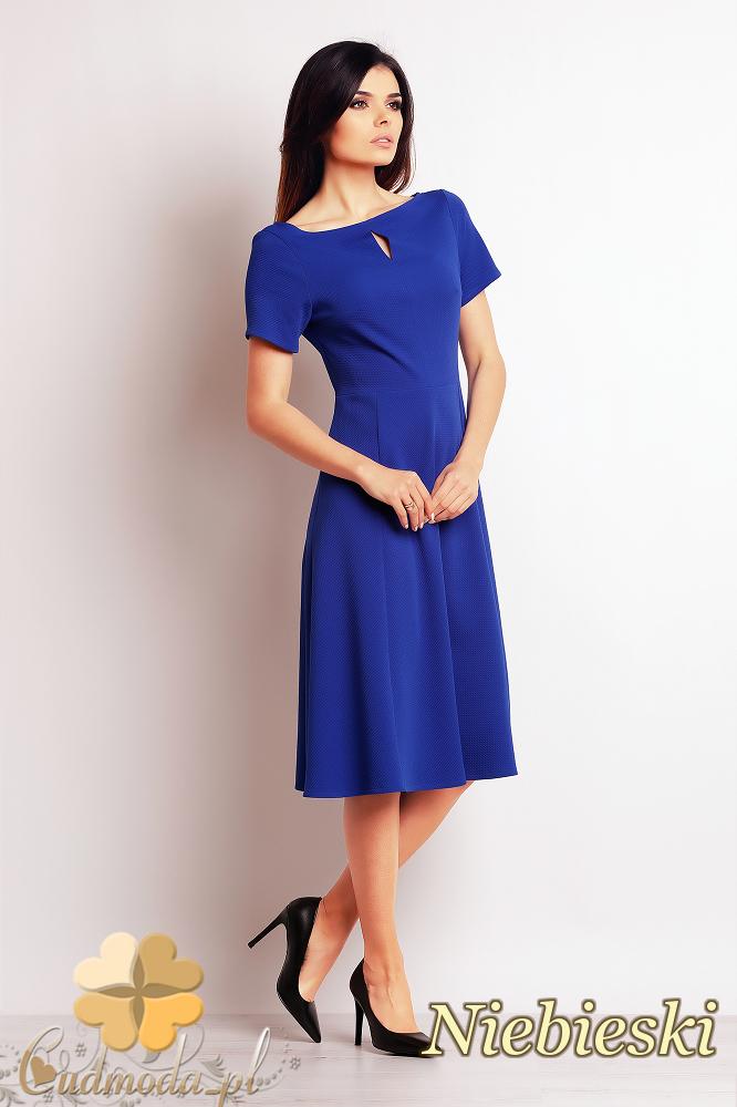 CM2395 Nowoczesna kobieca sukienka biurowa - niebieska