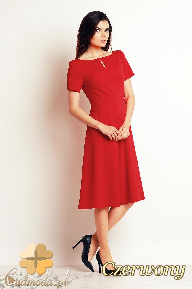 CM2395 Nowoczesna kobieca sukienka biurowa - czerwona