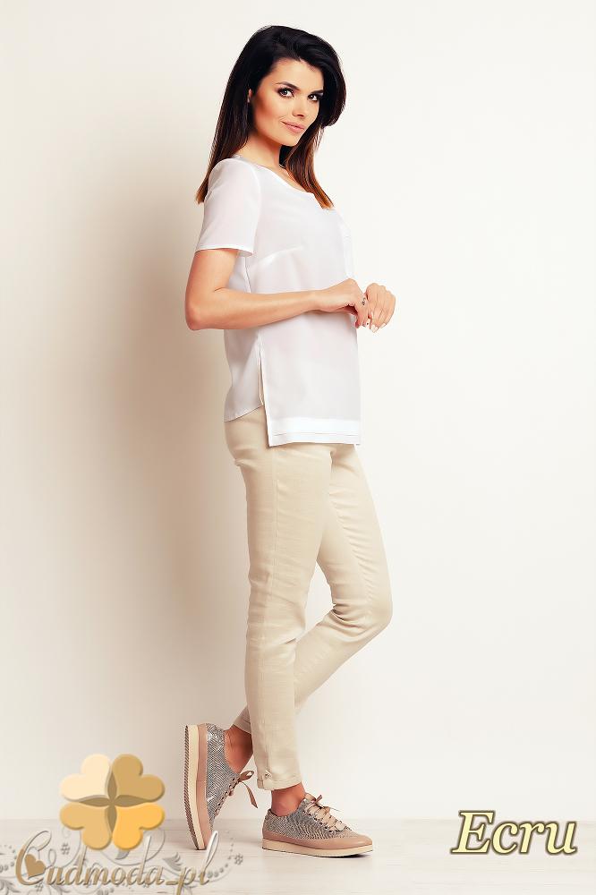 CM2396 Luźna elegancka bluzka z krótkim rękawem - ecru