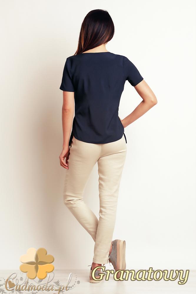 CM2396 Luźna elegancka bluzka z krótkim rękawem - granatowa