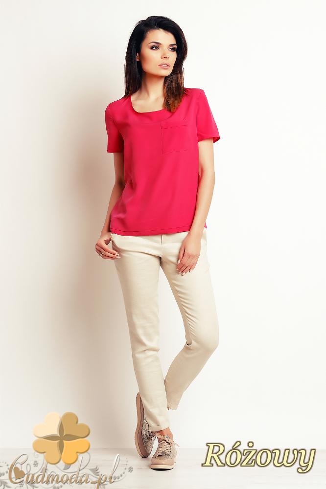 CM2396 Luźna elegancka bluzka z krótkim rękawem - różowa