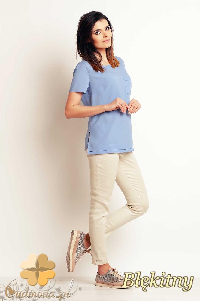 CM2396 Luźna elegancka bluzka z krótkim rękawem - błękitna