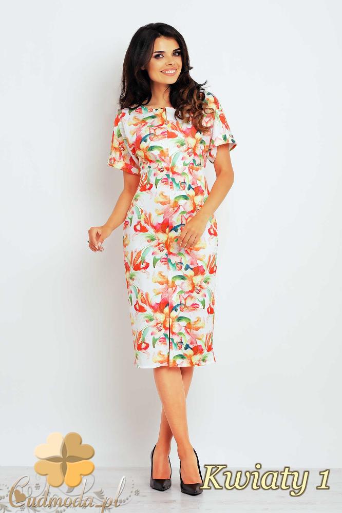 CM2398 Ołówkowa sukienka damska z motywem - kwiaty 1