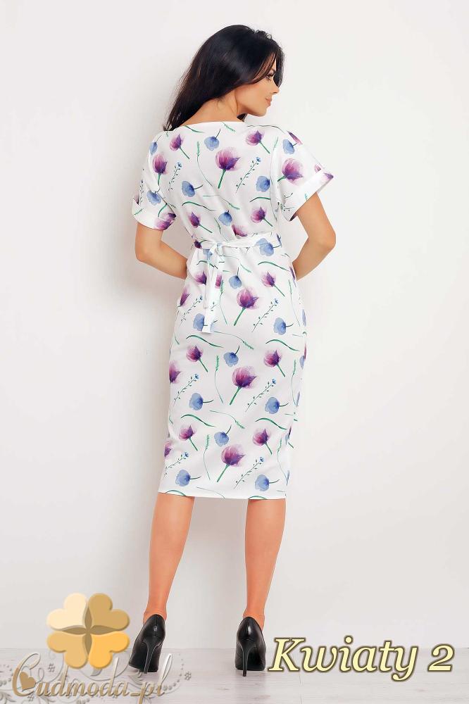 CM2398 Ołówkowa sukienka damska z motywem - kwiaty 2