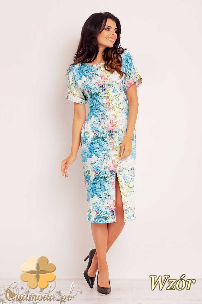 CM2398 Ołówkowa sukienka damska z motywem - wzór