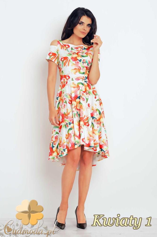 CM2399 Asymetryczna sukienka midi w kwiaty - kwiaty 1