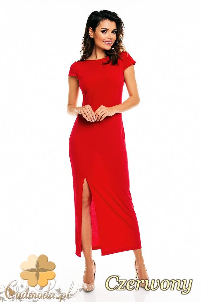 CM2403 Dopasowana sukienka wieczorowa z rozcięciem - czerwona