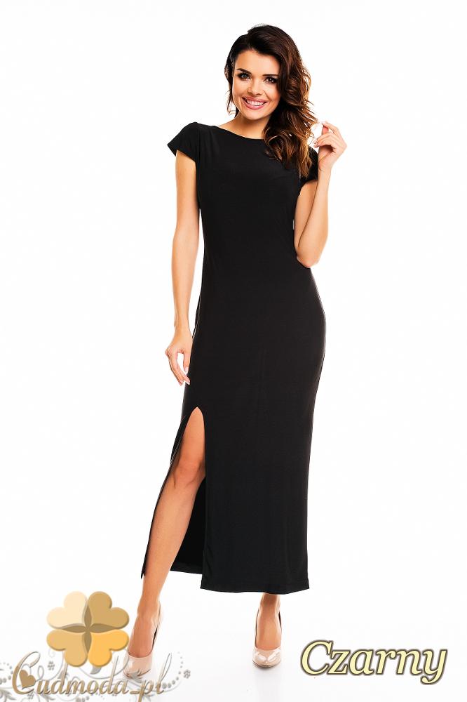 CM2403 Dopasowana sukienka wieczorowa z rozcięciem - czarna