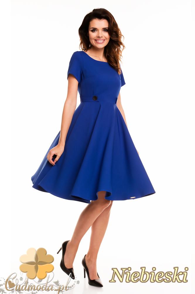 CM2404 Koktajlowa sukienka wieczorowa - niebieska