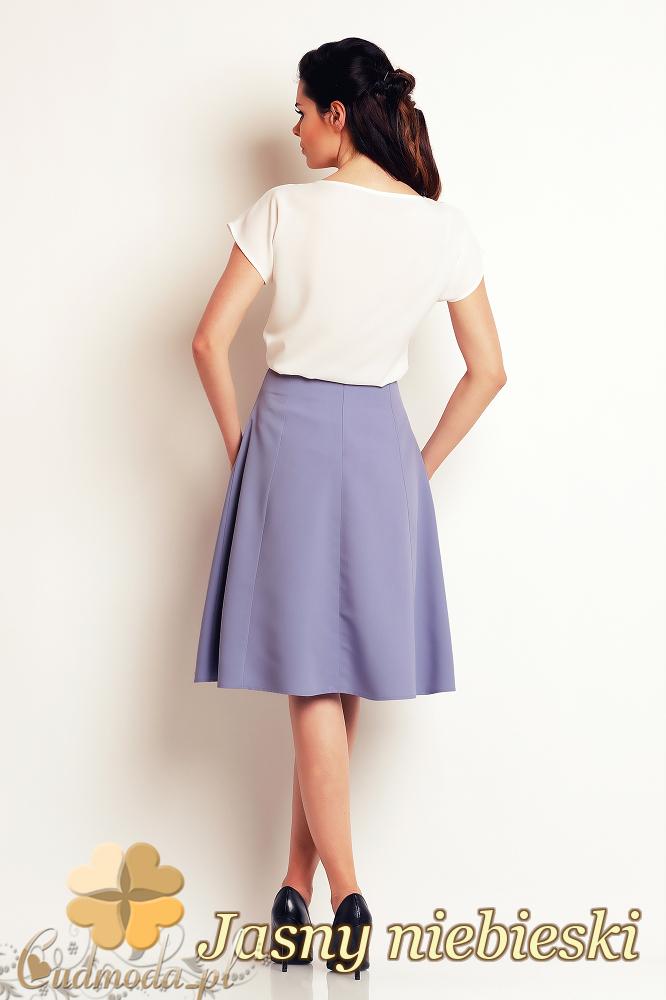 CM2405 Biurowa spódniczka trapezowa midi - jasny niebieski