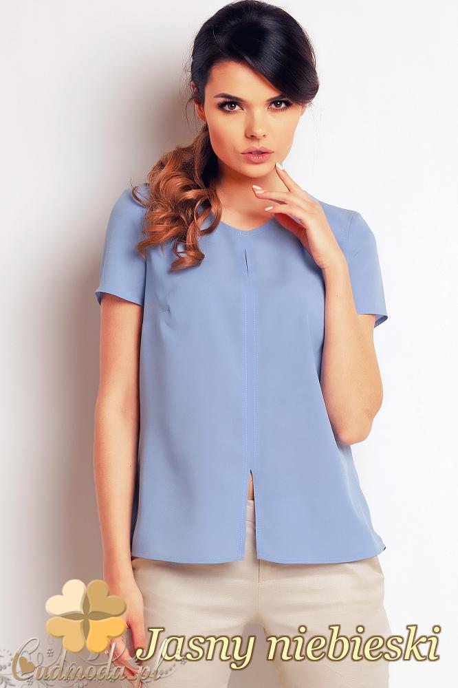 CM2406 Zwiewna bluzka damska z rozcięciem - jasny niebieski