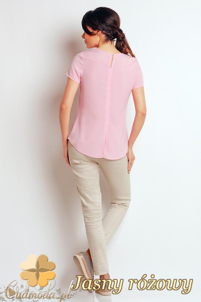CM2406 Zwiewna bluzka damska z rozcięciem - jasny różowy