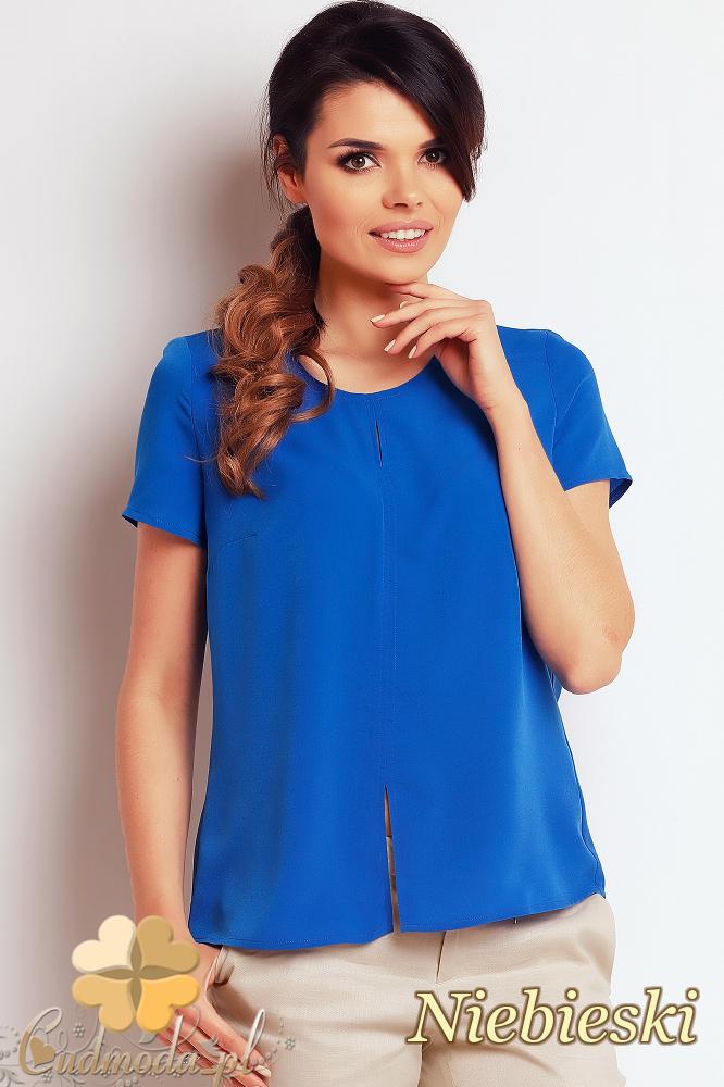 CM2406 Zwiewna bluzka damska z rozcięciem - niebieska