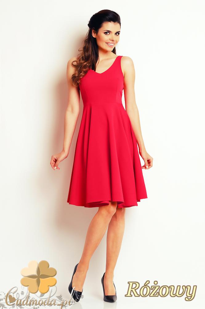 CM2407 Koktajlowa sukienka wieczorowa bez rękawów - czerwona
