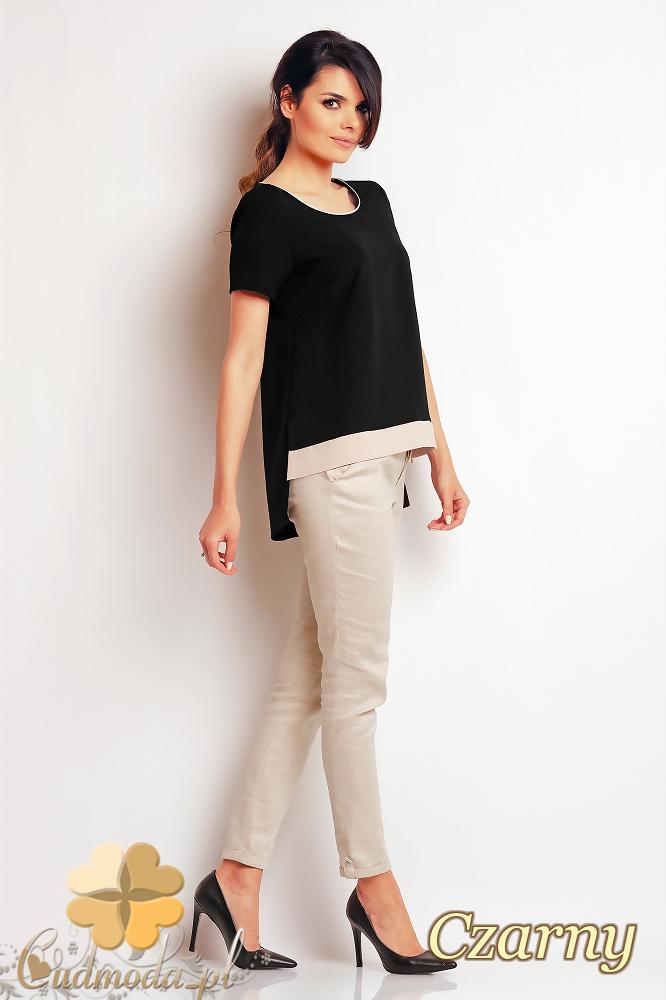 CM2408 Nowoczesna bluzka z krótkim rękawem - czarna