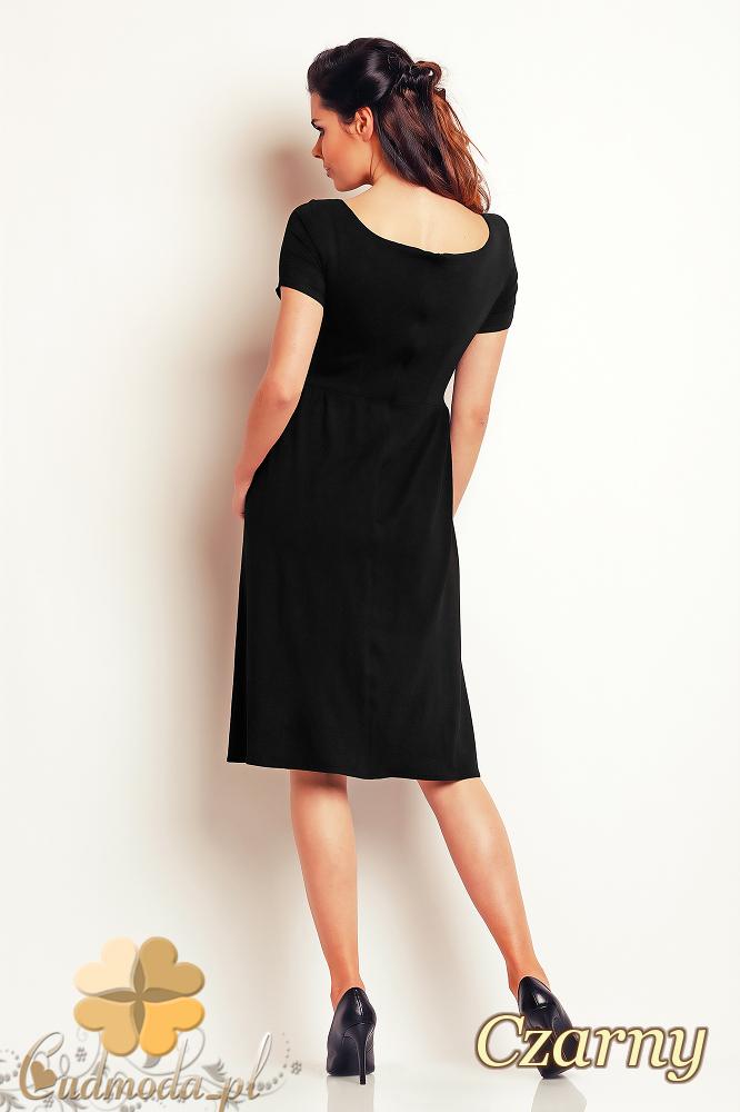 CM2409 Prosta wieczorowa sukienka midi - czarna