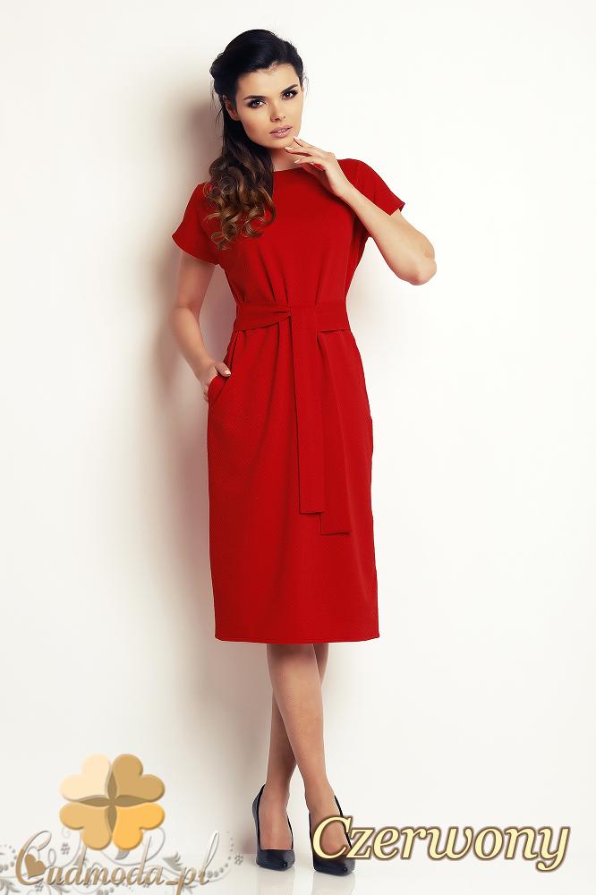 CM2410 Przewiązana sukienka ołówkowa - czerwona