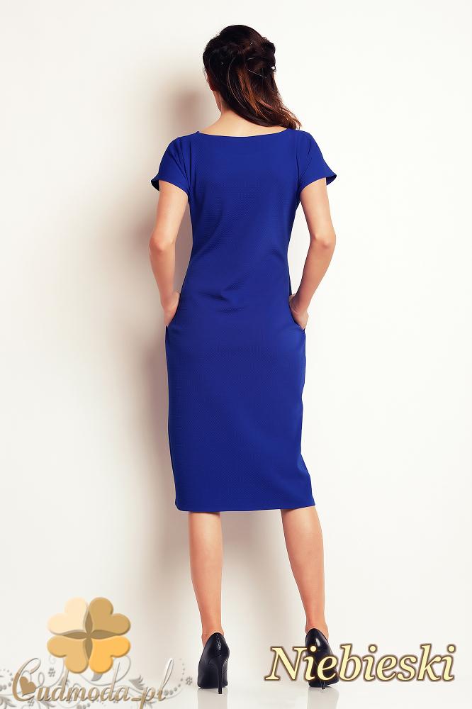 CM2410 Przewiązana sukienka ołówkowa - niebieska
