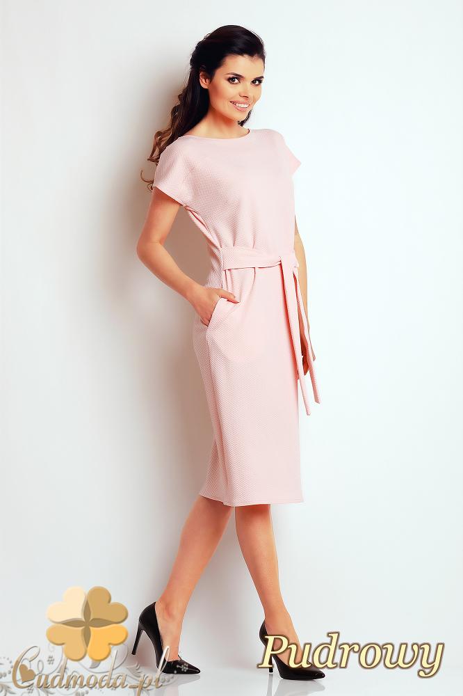 CM2410 Przewiązana sukienka ołówkowa - pudrowa