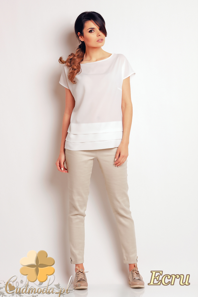 CM2411 Nowoczesna bluzka z przeszyciami - ecru