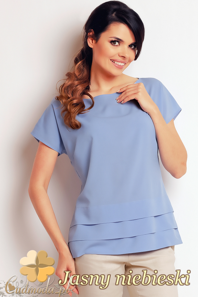 CM2411 Nowoczesna bluzka z przeszyciami - jasny niebieski
