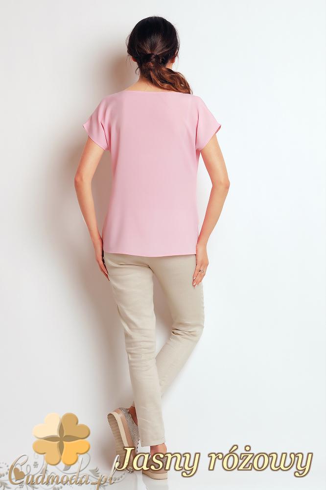 CM2411 Nowoczesna bluzka z przeszyciami - jasny różowy
