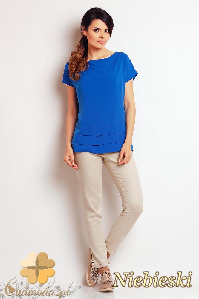 CM2411 Nowoczesna bluzka z przeszyciami - niebieska