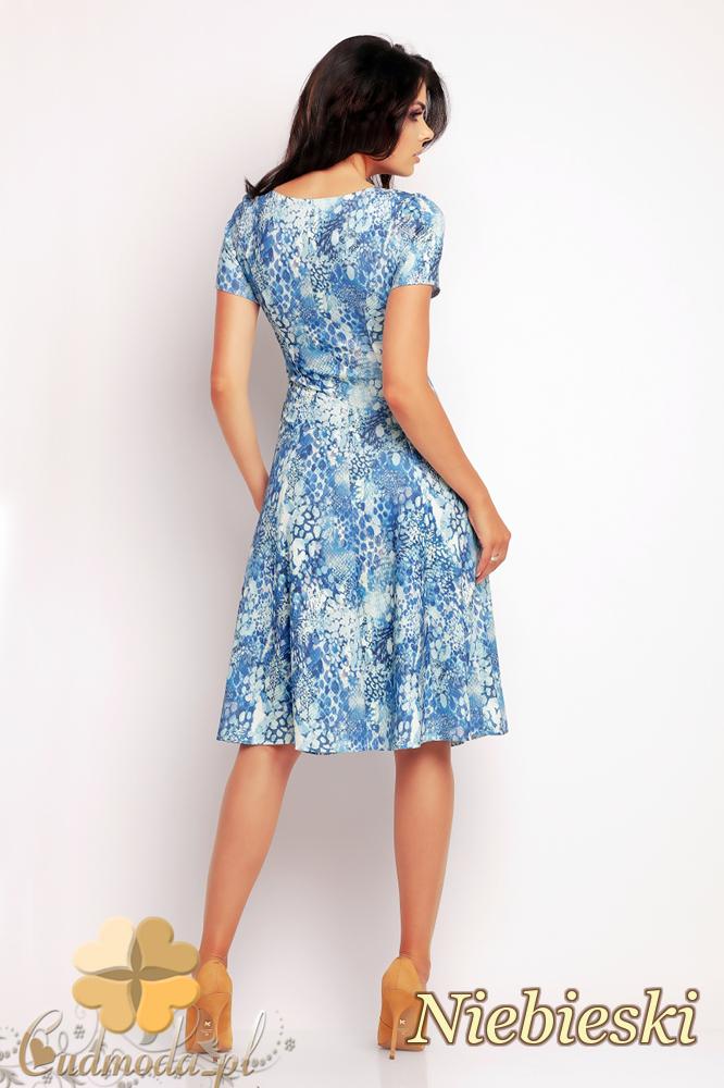 CM2412 Biurowa sukienka mini w motyw - niebieska