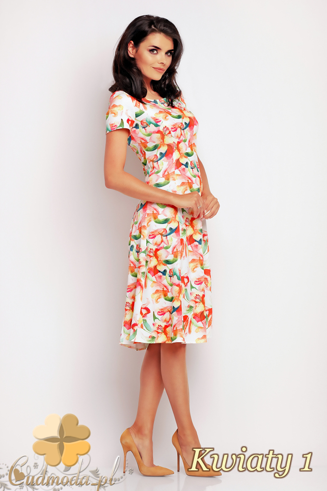 CM2412 Biurowa sukienka mini w motyw - kwiaty 1