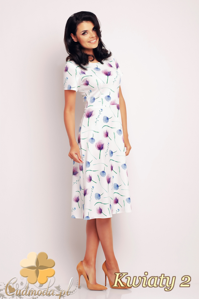 CM2412 Biurowa sukienka mini w motyw - kwiaty 2