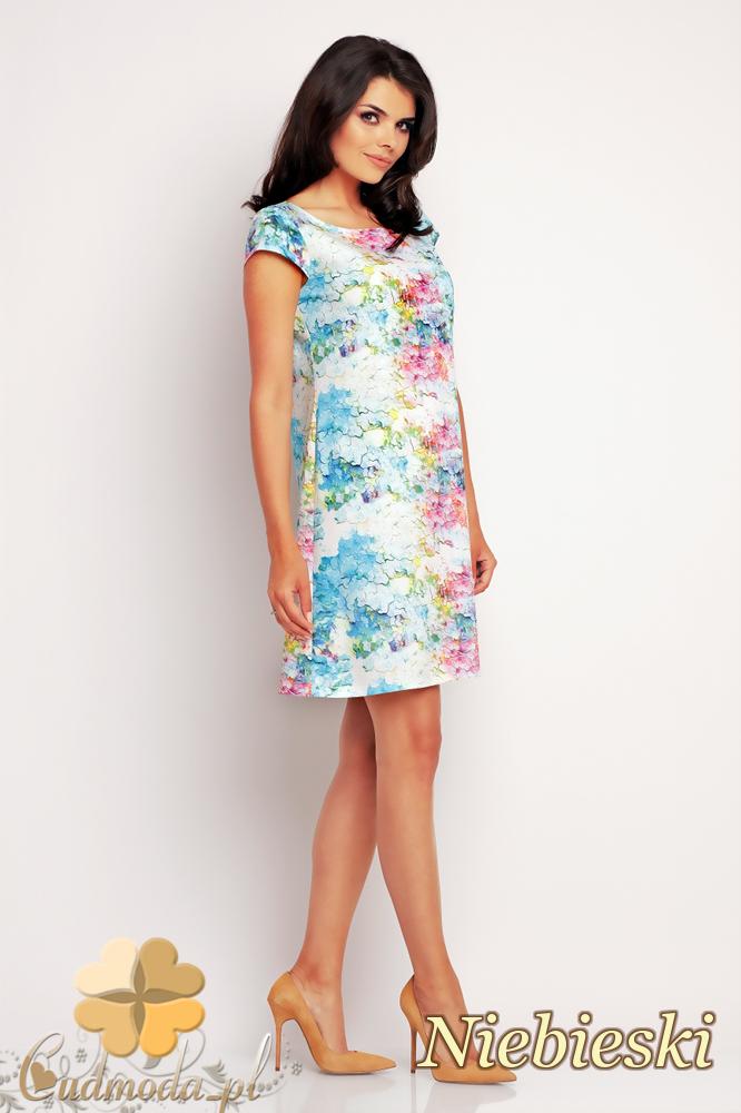 CM2414 Trapezowa sukienka mini - niebieska