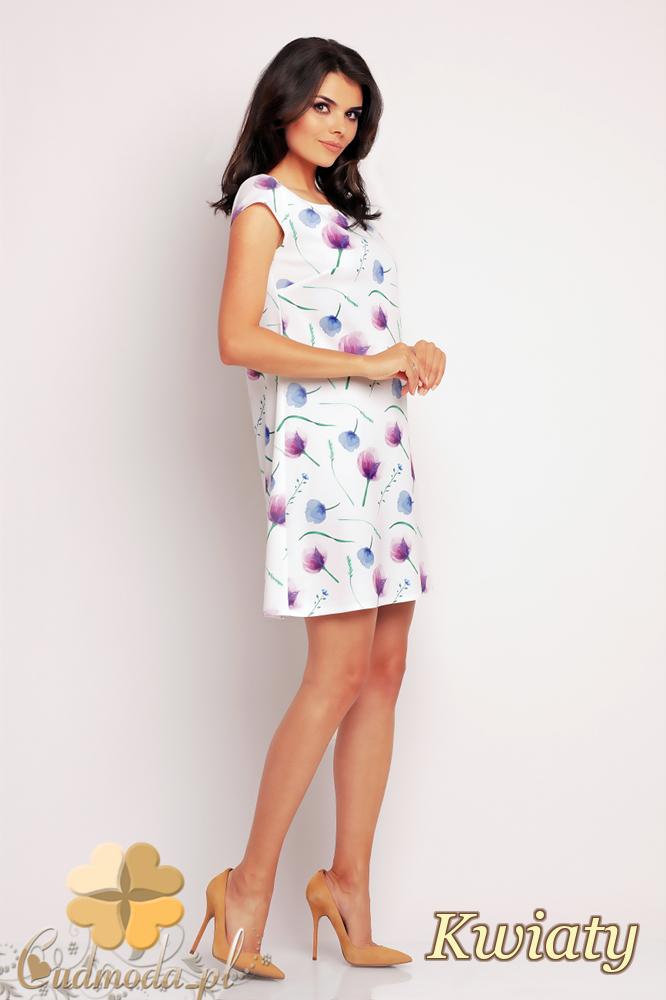 CM2414 Trapezowa sukienka mini - kwiaty