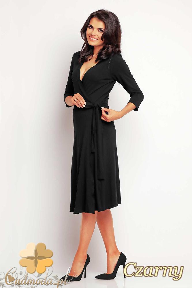CM2415 Przewiązana sukienka kopertowa midi - czarna
