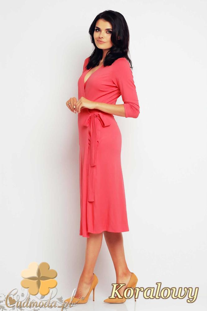 CM2415 Przewiązana sukienka kopertowa midi - koralowa