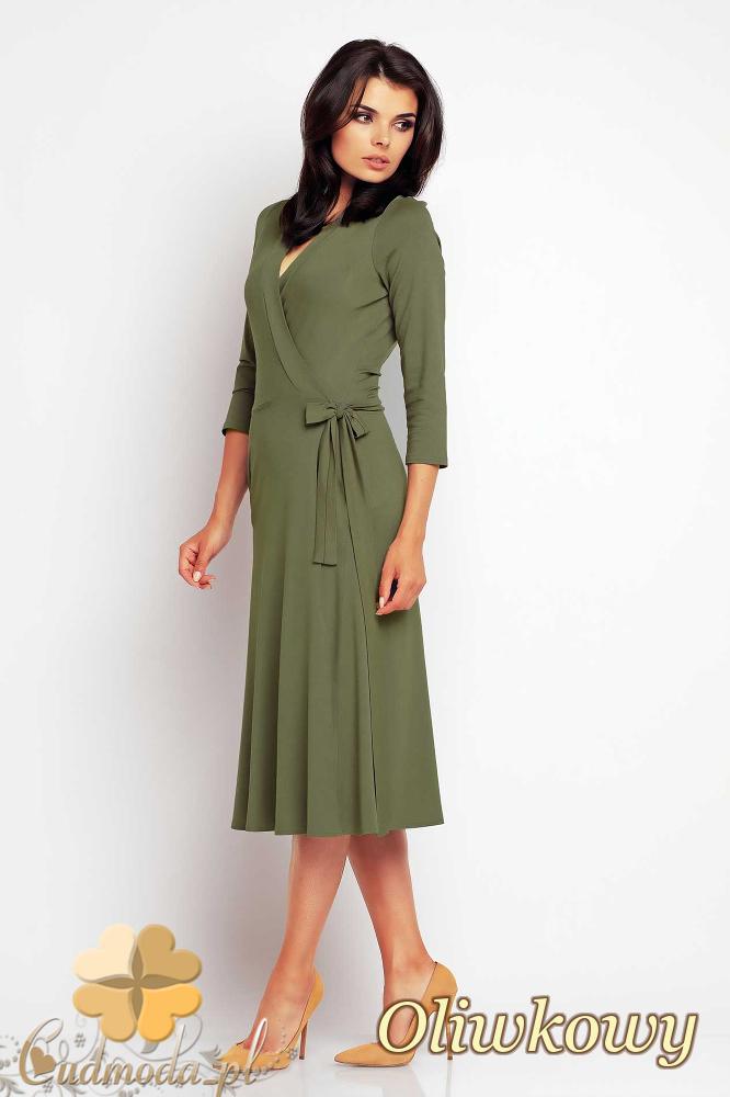 CM2415 Przewiązana sukienka kopertowa midi - oliwkowa