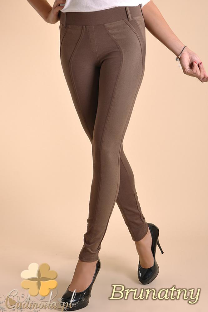CM0037 Włoskie legginsy z zamszową wstawką brunatne