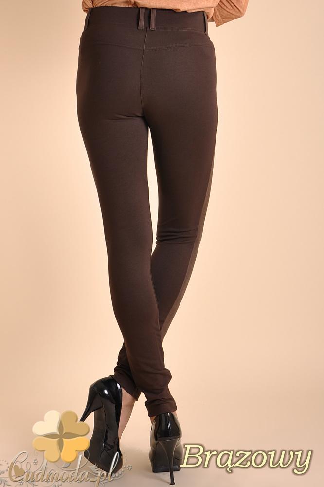 CM0037 Włoskie legginsy z zamszową wstawką brązowe