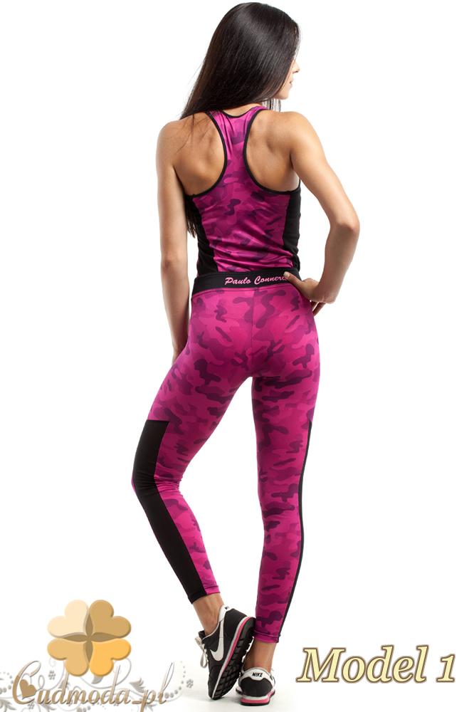 CM2430 Sportowe legginsy FIT z czarną wstawką na łydce