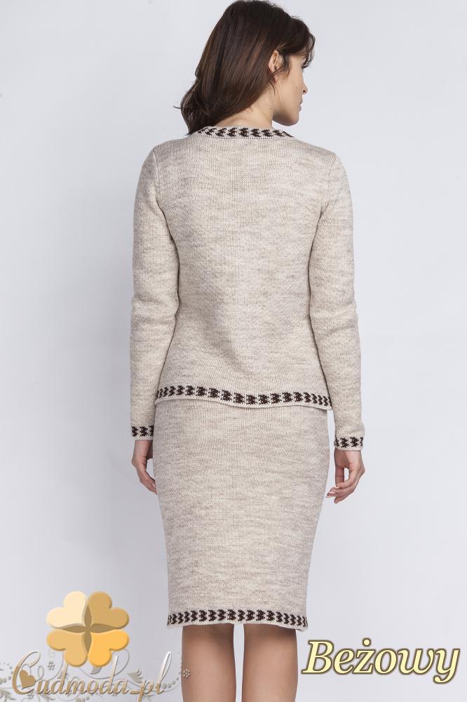CM2431 Komplet - sweter + spódniczka - beżowy