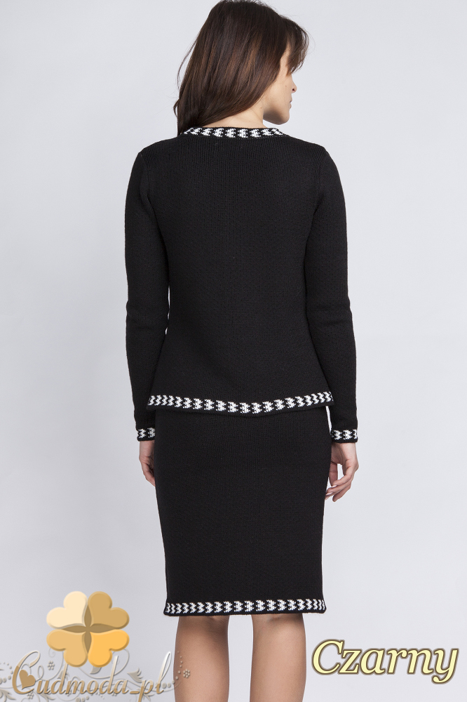 CM2431 Komplet - sweter + spódniczka - czarny